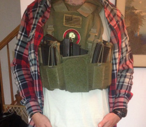 """Low Vis"" Setup with chest rig removed and kangaroo pouch used for handgun"