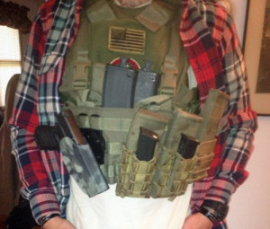"""High Threat"" setup with chest rig attached"