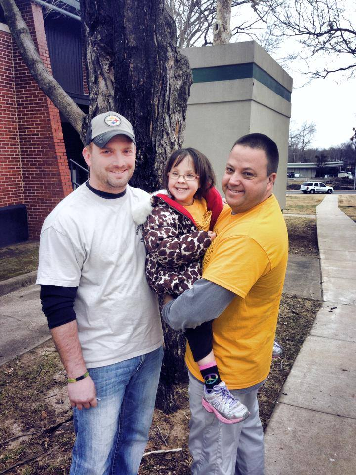 Dean (left) along with Payton (center) and her father (right)