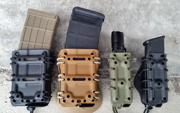 Lancer rifle mag, Magpul rifle mag, flashlight, Glock pistol mag